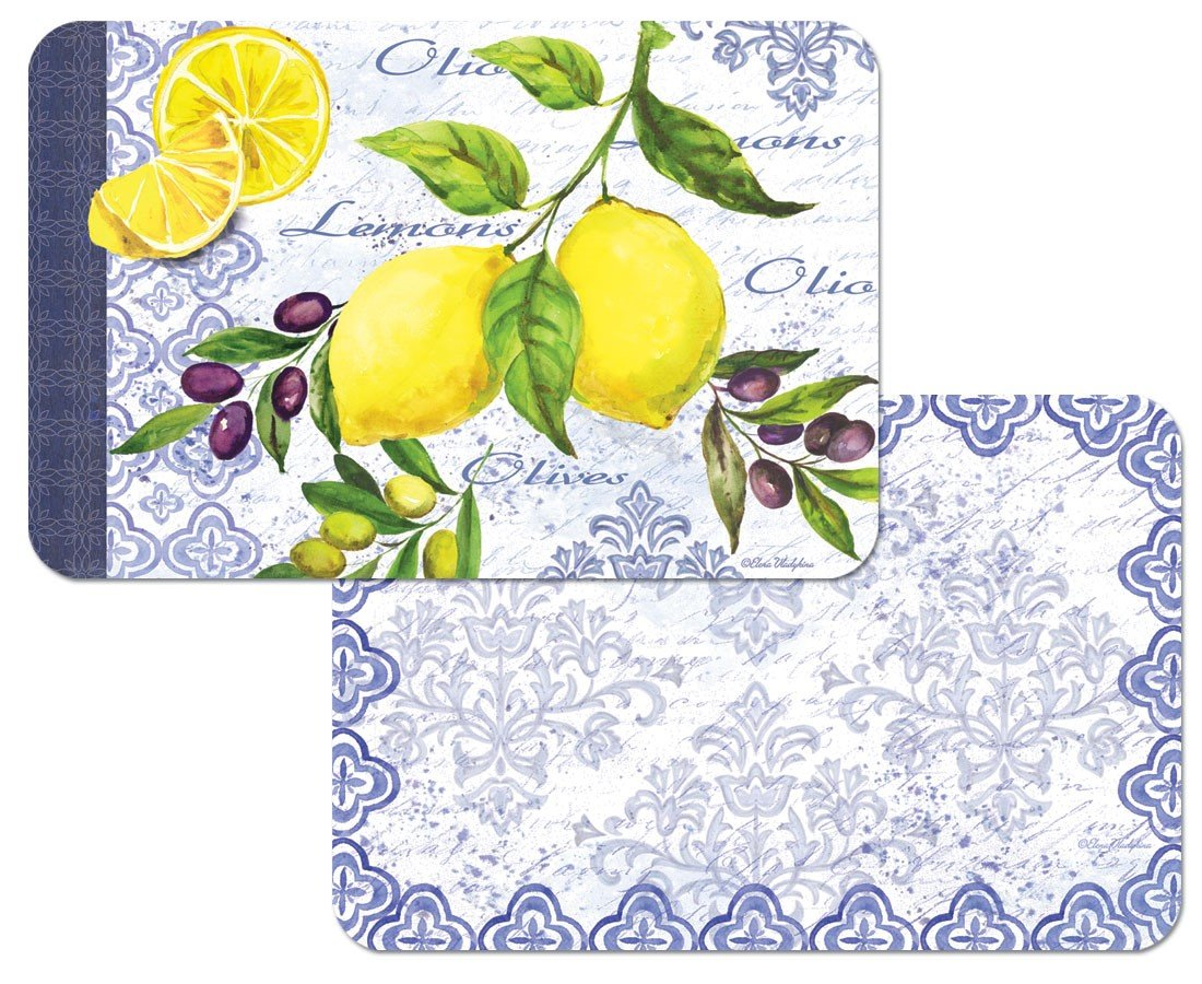 4 Lemons and Olives Placemats Reversible Washable Plastic