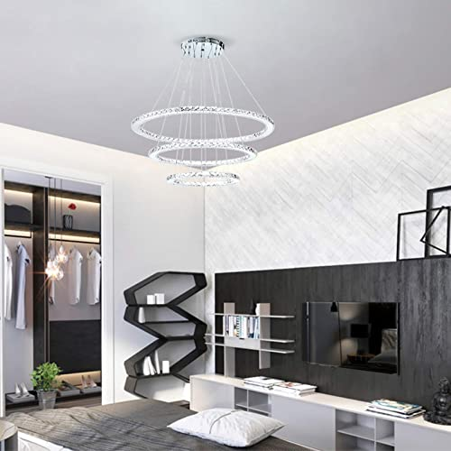 Ganeed Modern Crystal Chandelier Lighting Ceiling Dining Room Living Room Chandeliers Contemporary LED Light Fixtures Hanging 3 Ring Foyer Girls Bedroom Pendant Lights,Cool White