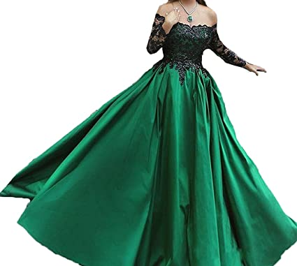 Vipdress Emerald Green Formal Dresses For Women Evening Lace Long
