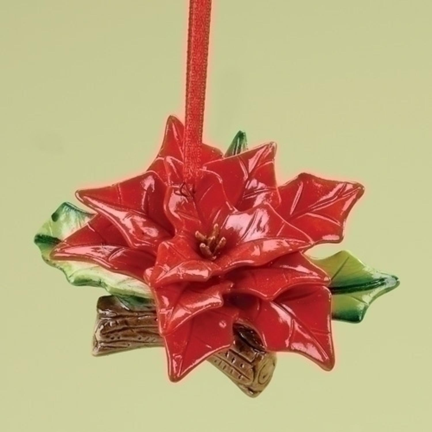 Amazon Ceramic Red Poinsettia Flower Christmas Ornament With
