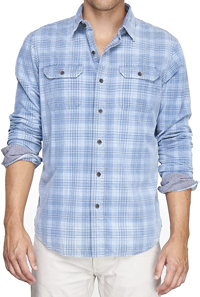 Tailor Vintage Mens Long Sleeve Indigo Plaid Cord Button Down Shirt