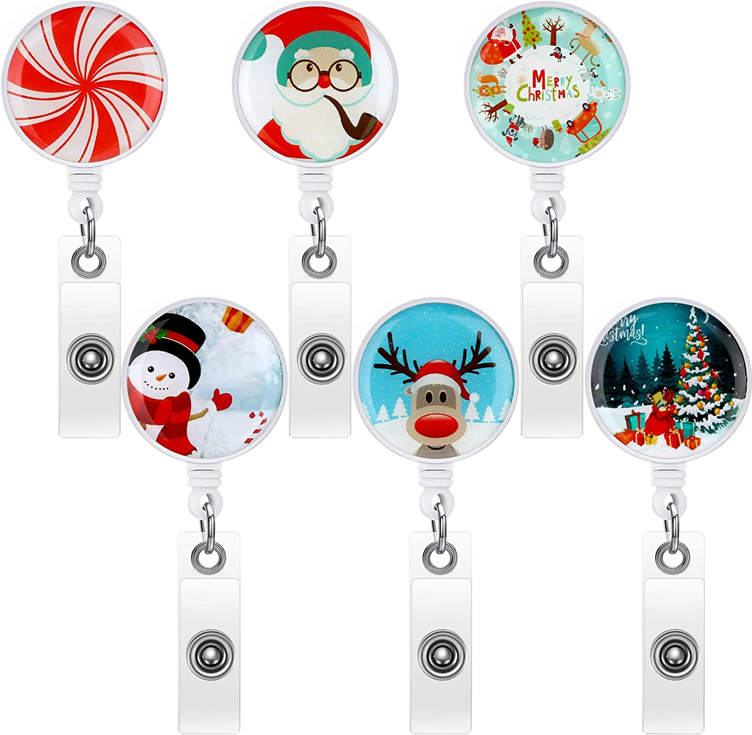 6 Pieces Christmas Badge Reel Retractable Holder Holiday Badge Reel Cute Metal Badge Reels with Alligator Clip ID Card Holder for Office Worker Doctor Nurse