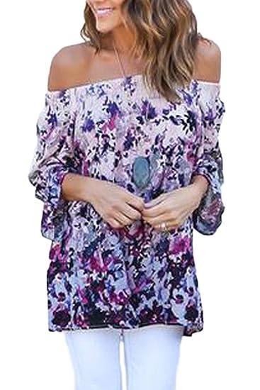 Women s Bohemian Floral Print Strapless Top Tee Camiseta Manga Larga Tunica Blusa: Amazon.es: Ropa y accesorios