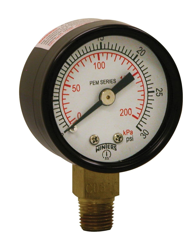 """Winters PEM Series Steel Dual Scale Economy Pressure Gauge, 0-30 psi/kpa, 1-1/2"""" Dial Display, +/-3-2-3% Accuracy, 1/8"""" NPT Bottom Mount"""