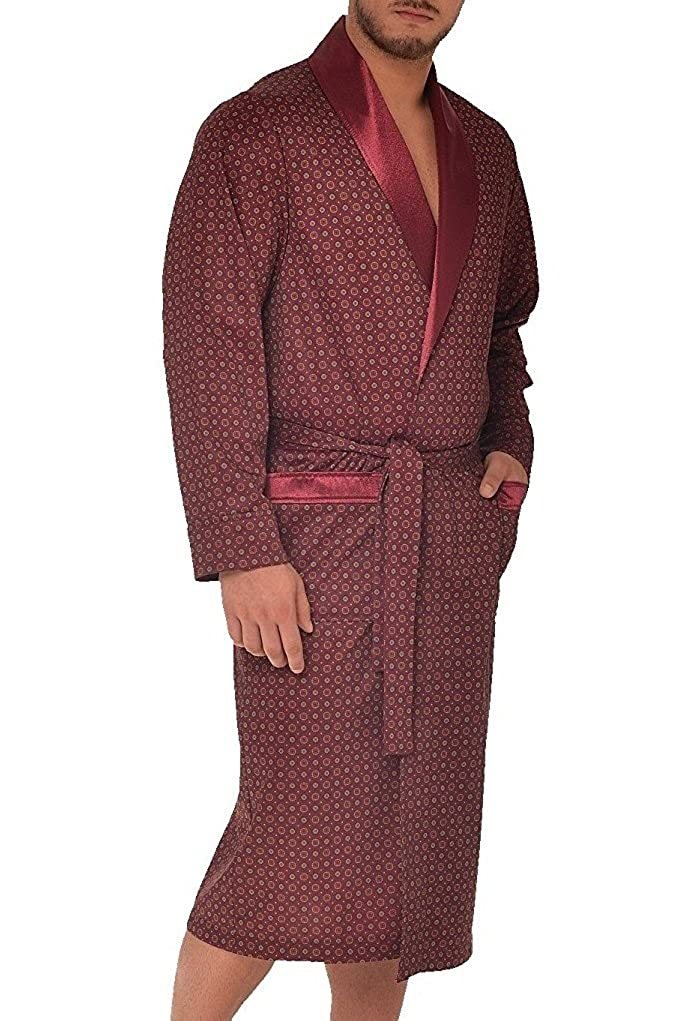 LEVERIE noble men's dressing gown/sauna robe with hood and cuffed sleeves, bordeaux, 4XL