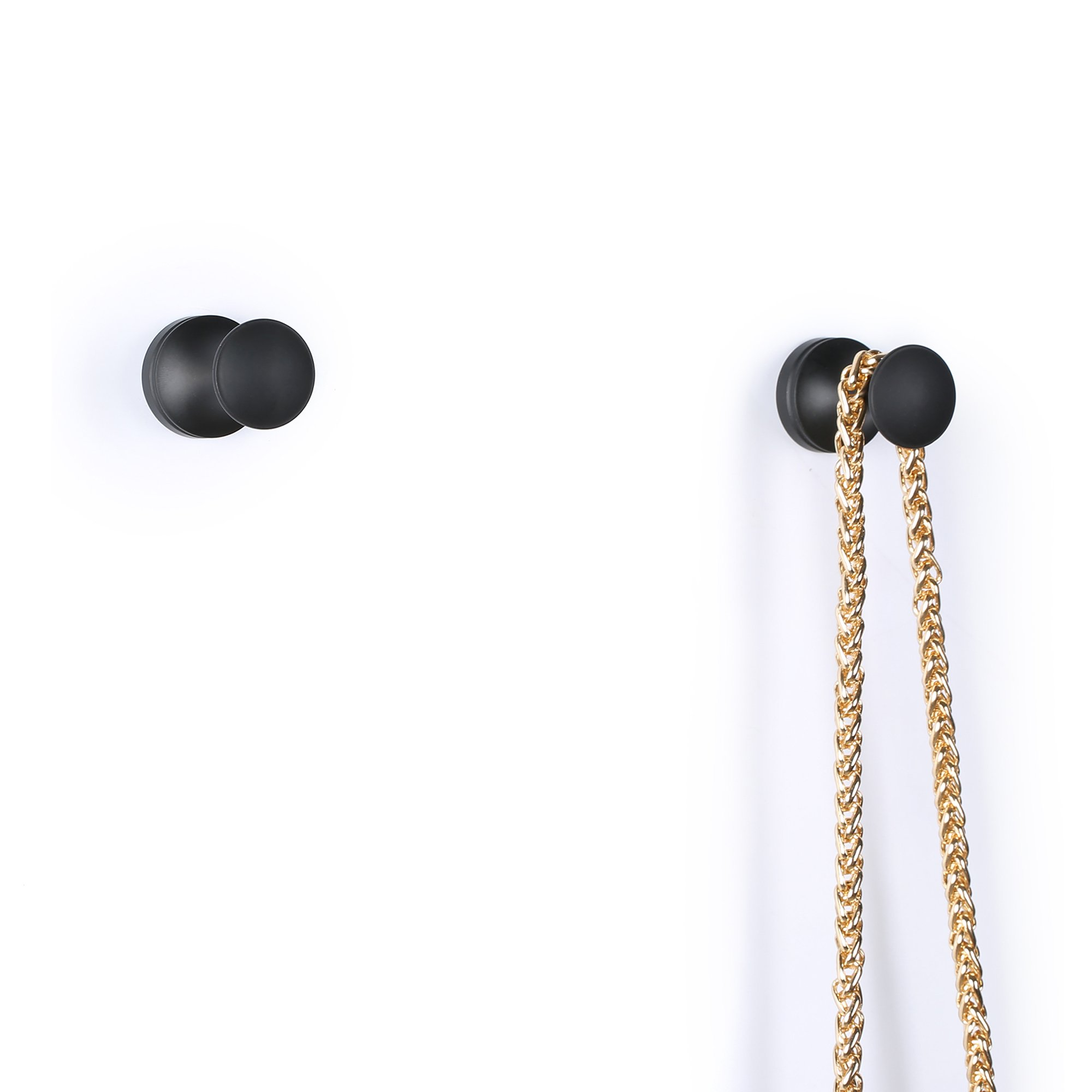 EtechMart Pack of 2 Oil Rubbed Bronze Black Single Hook Towel Coat and Hat Hanger Wall-Mounted