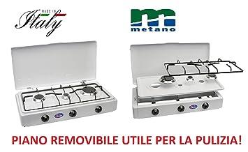 Hornillo Parker a gas Metano (Gas Red Doméstica) con 3 Fuegos con Piano extraíble para la limpieza - color blanco y negro - Para Exterior: Amazon.es: Jardín
