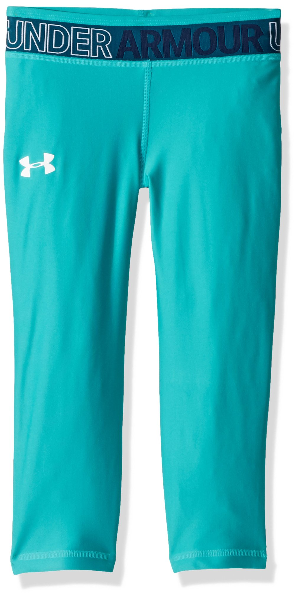 Under Armour Girls' HeatGear Armour Capris, Teal Punch /White, Youth Small by Under Armour