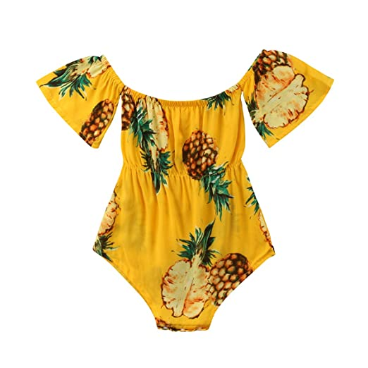 d63680e56 Amazon.com  Baby Girls Off Shoulder Short Sleeve Pineapple Print ...