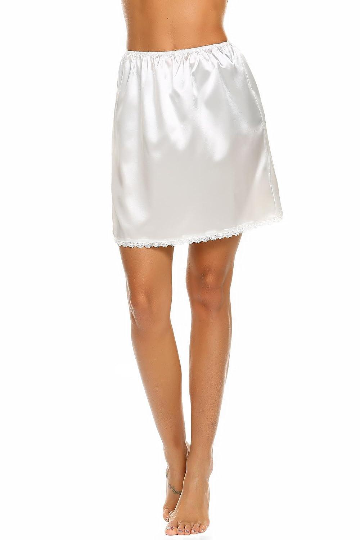 Skylin Half Slip Womens Nightwear Mini Elastic Waist Satin Under Skirts Short Anti-Static Nightdress S-XXL SAMK009605