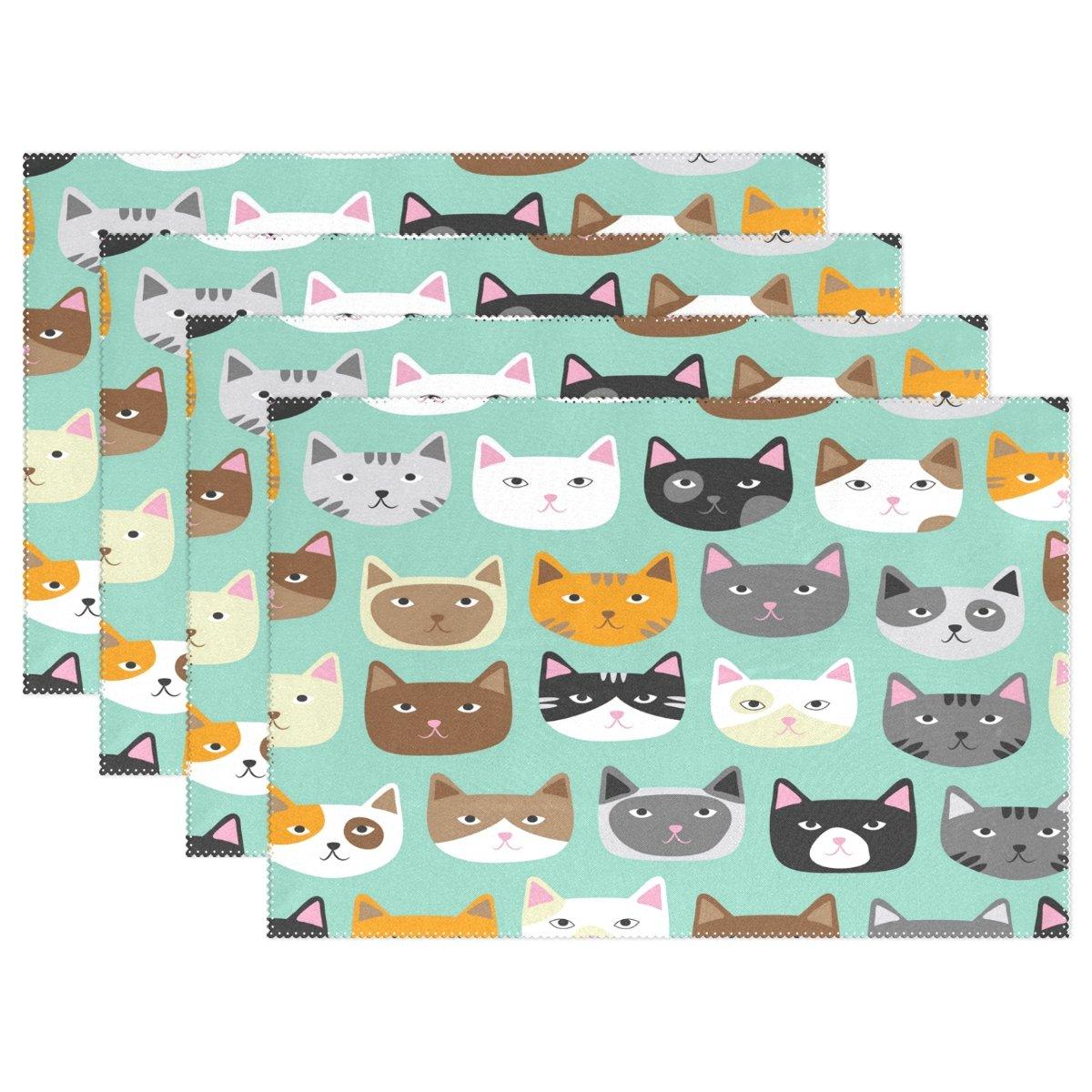 Wozo Cute Cat Faceプレースマットテーブルマット、Cat Kitten 12