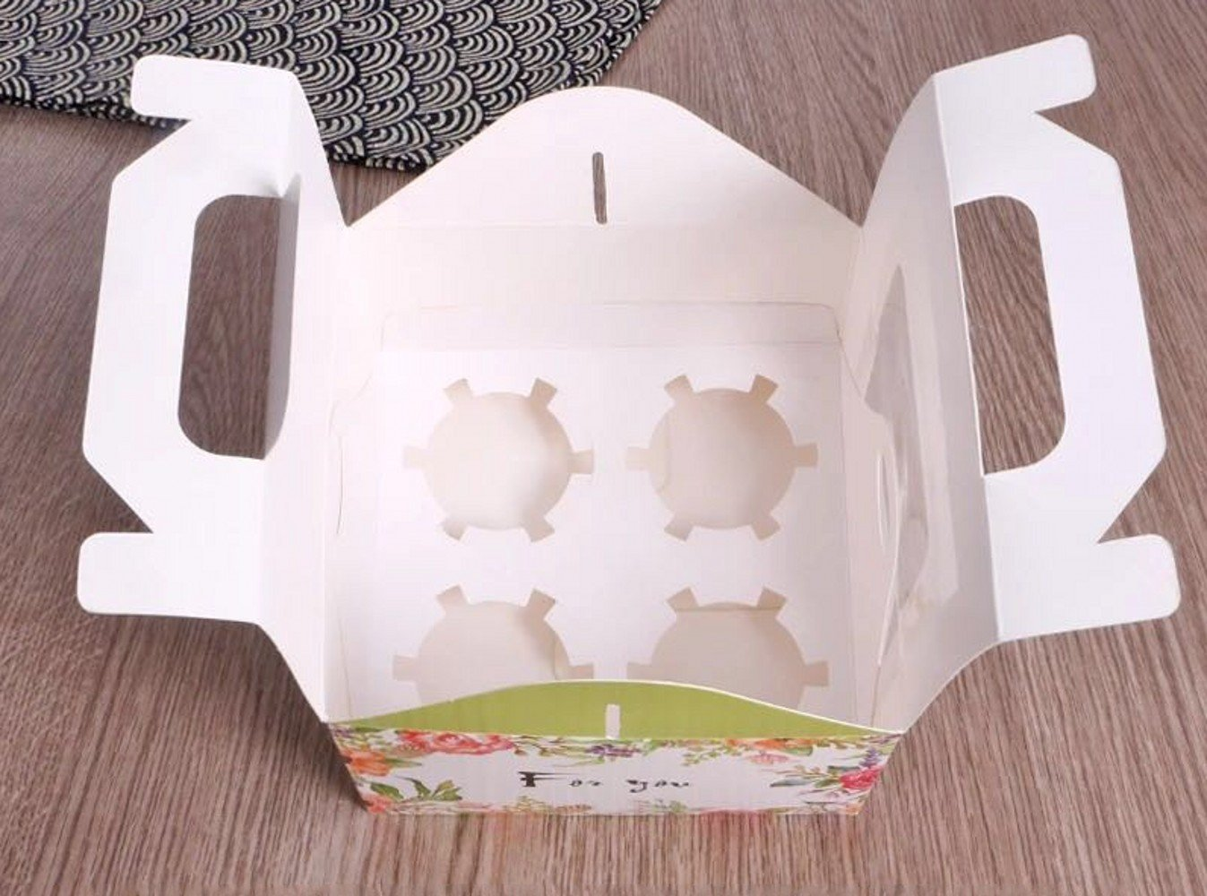 Clear Bakery Pastry Food Grade Flower Garden Design Cardboard 4 Cavity Cupcake Boxes With Window And Handle Wholesale (50)