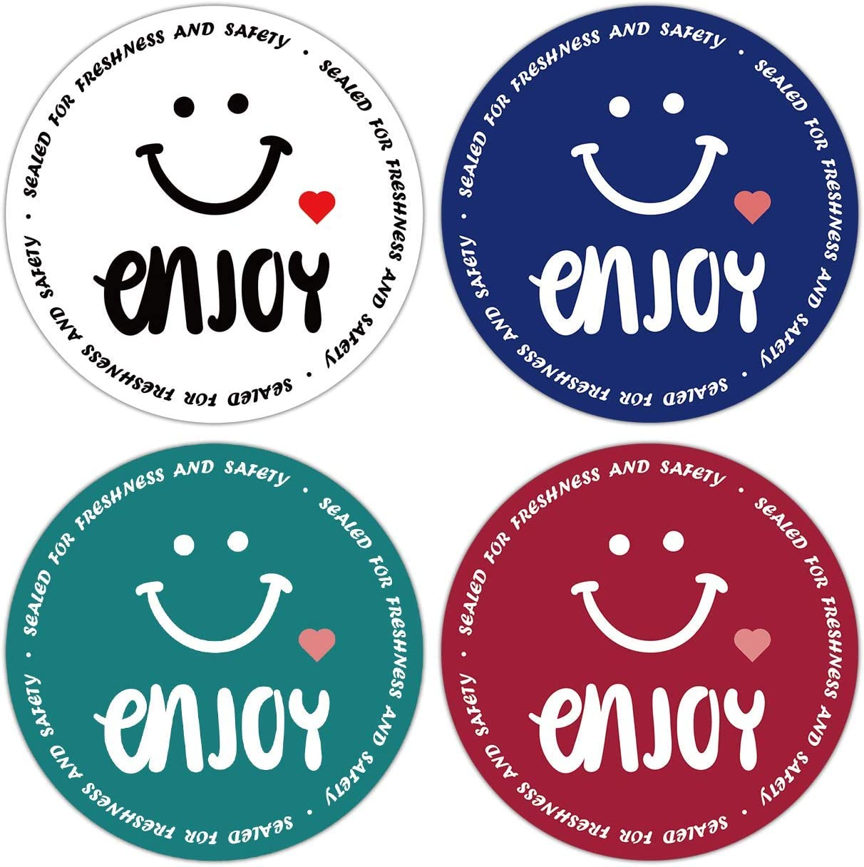 Food Delivery Sealing Stickers Roll, Sealed for Freshness and Safety Labels for Food Service, Enjoy Sticker, Catering Business, and Bakery Packaging ect. (500pc/Roll) (2'', Smile #1)