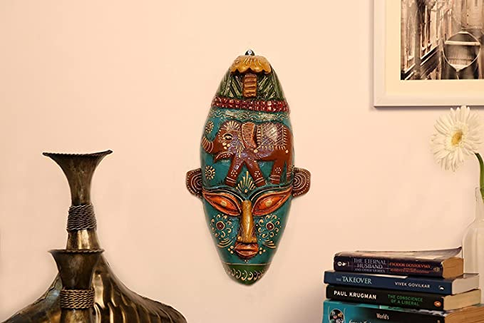 Buy Home Decor Wall Hanging Mask Rajasthani Handpainted Home ...