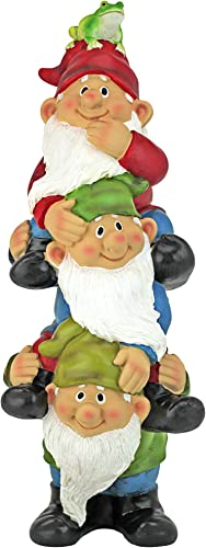 Design Toscano QM2360300 Tower of Three Outdoor Garden Funny Lawn Gnome Statues