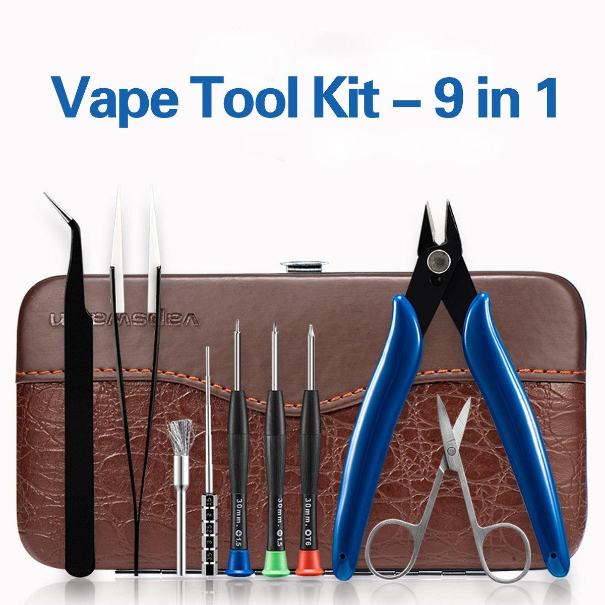 Portable Coil DIY Tool Kit Sets(9in1), Crocodile Skin PU Leather Storage Bag Oblique Pliers Ceramic/Elbow Tweezers Wire Rod Elbow Scissors Cross (Plum) / Word / T6 (Hexagon) Screwdriver Steel Brush