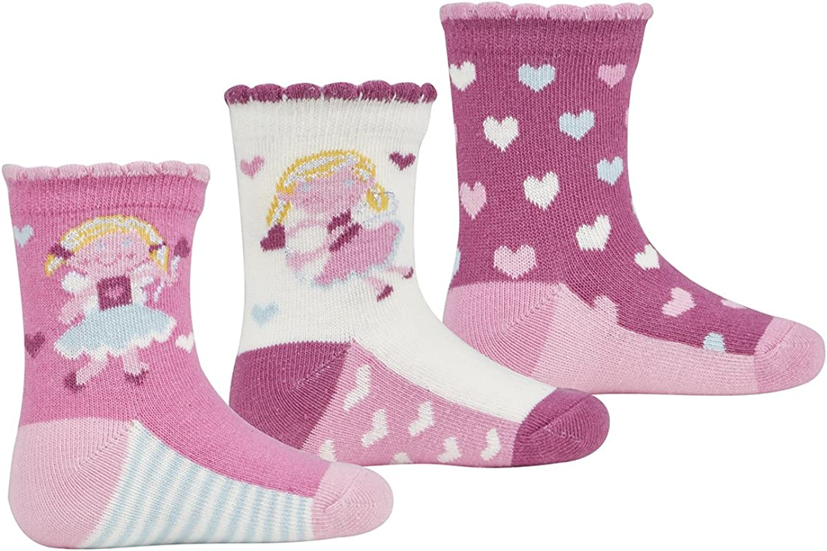 3 Pairs TICK TOCK Baby Girl Design Socks Cotton Rich Fairy Glitter Frill Newborn
