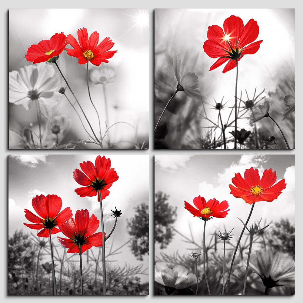 Wall art 4panel modern salon theme black and white plant the red flower flower abstract painting still life canvas wall art for home decor flower