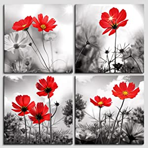 hyidecor art 4pcs Modern Salon Theme Black and White Plant The red flower Flower Abstract Painting Still Life Canvas Wall Art for Home Decor Flower Canvas Print Wall Art Painting For Living Room Decor