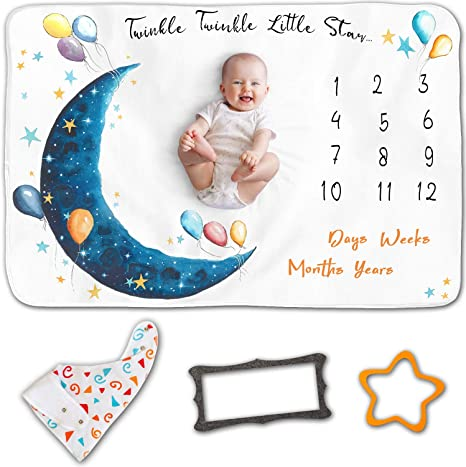 Track Age /& Growth Personalized Baby Shower Gifts New Moms Unisex Props Blankets Large 60x40 Thick Fleece Soft Month Blanket Baby Pictures Baby Monthly Milestone Blanket For Girl Or Boy
