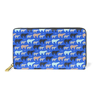 d7014d3c3dc9 Polar Bear Art Blue Real Leather Zip Around Wallet Wristlet Women ...