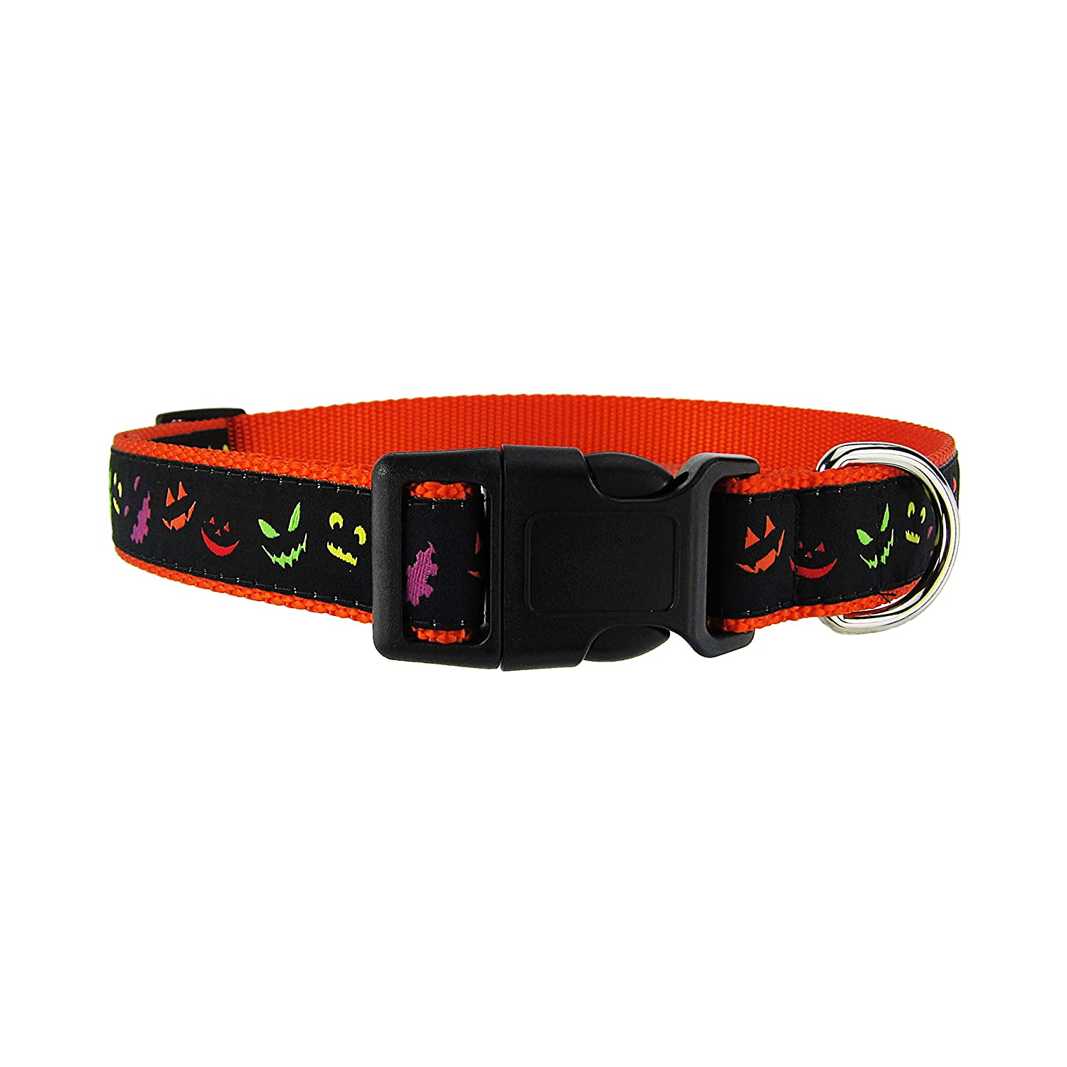 Medium 12\ DOG & COMPANY Jack-O-Lantern Pattern 1  Wide Heavy Duty Adjustable Pet Collar (Medium 12 -20 )