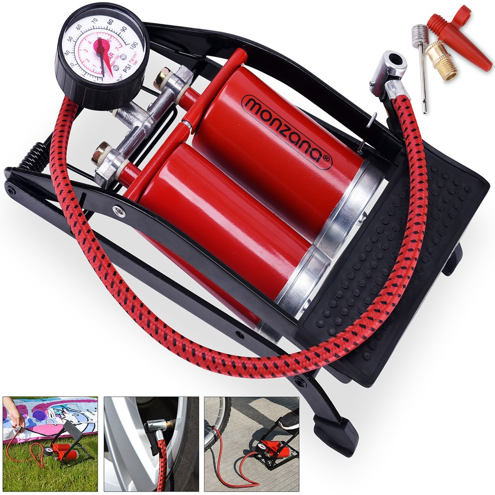 Deuba Foot Pump Double Cylinder | 7 Bar | 80 cm Pipe with Adaptor Set | Professional Air Pump Double Cylinder Bicycle Tyres Car Air Mattress Choice of Model