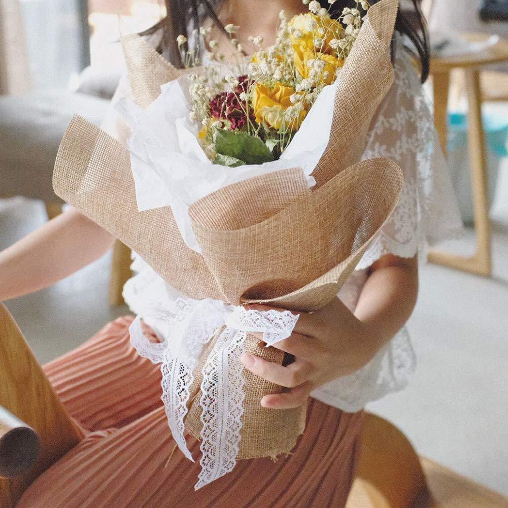 VGOODALL 40 M Spitzenbordüre Spitzenband, Weiss Beige Vintage Band mit 2 Spitzen-Blumen Gesamt 4 Rolls für Hochzeit Tischdeko Basteln Geschenkband DIY Handwerk