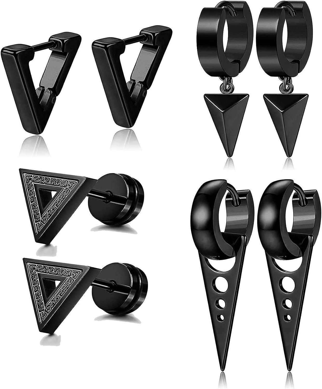 LOLIAS 4 Pares Acero Inoxidable Aretes Triangulares para Hombres Mujeres Pendientes Colgantes Aro Flecha Punk Huggie Geométricos Pendientes Colgantes, Plata/Negro