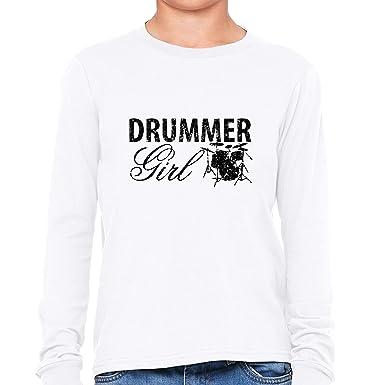 ad0128ea5256 Amazon.com: Hollywood Thread Simple Drummer Girl Graphic Design ...