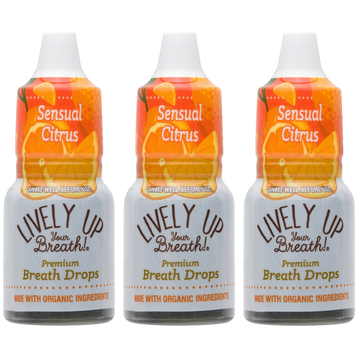 Lively Up Your Breath Premium Breath Freshener Liquid Drops with Organic Ingredients - Sensual Citrus 3 Pack