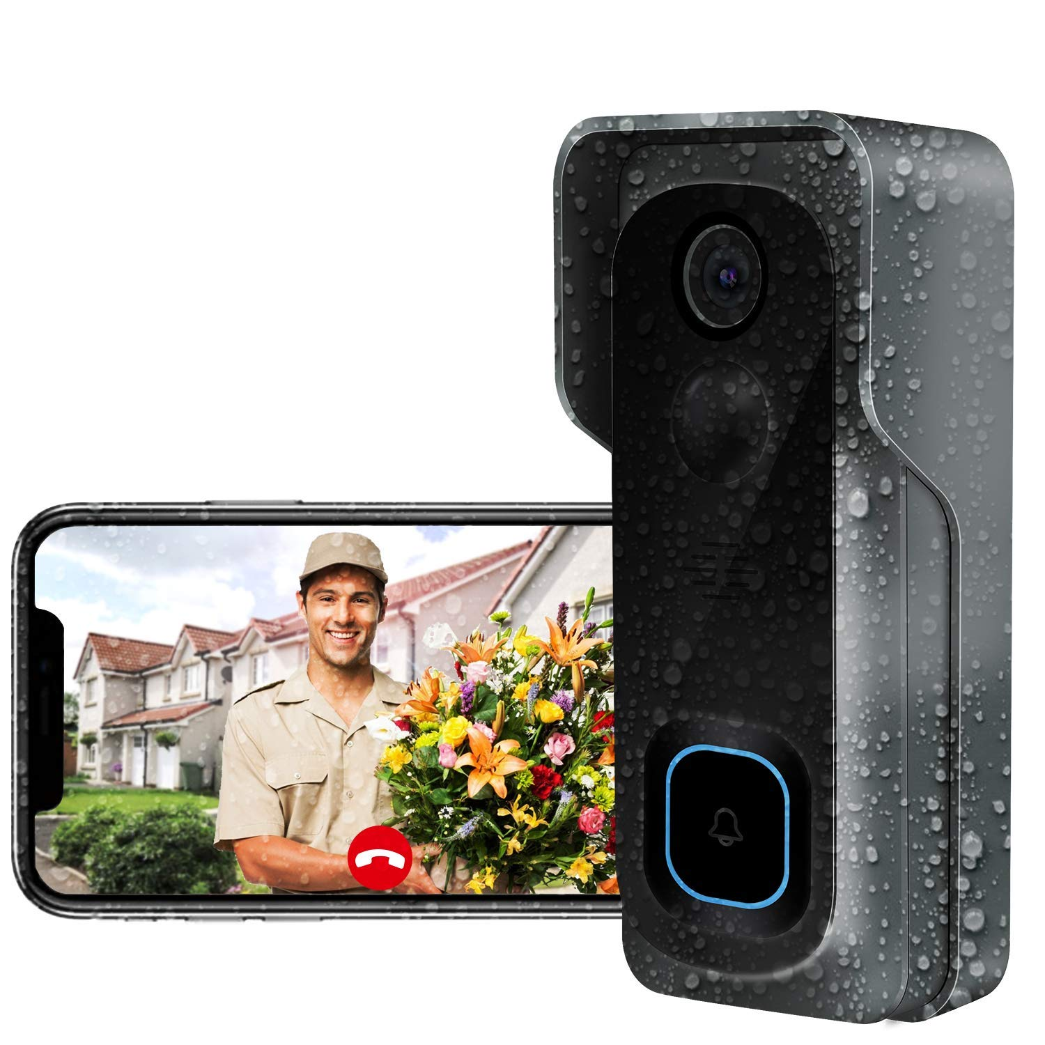 Doorbell Camera Wi-Fi with Motion Detector/Waterproof Video Doorbell/Free Chime/16GB Micro SD Card Included/Night Vision/166°Wide Angle/Two-Way Audio(AWOW J1) by AWOW