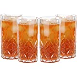 Lily's Home Acrylic Double Old Fashioned Hi-Ball Whiskey Tumblers - Set of 4 Premium Indoor / Outdoor Whisky Scotch Tumblers - Shatterproof, Reusable, Dishwasher Safe