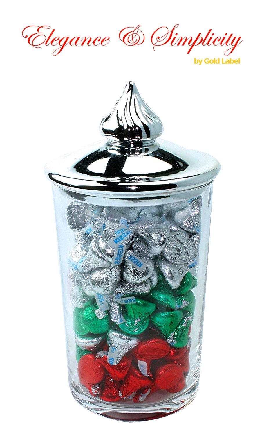 Hersheys 10'' Crystal Candy Canister with 2 lbs. Individually Wrapped Hersheys Chocolate Drops | Crystal Kiss Gift Set with Green Red Silver Hersheys for Valentines Day, Wedding and Anniversary