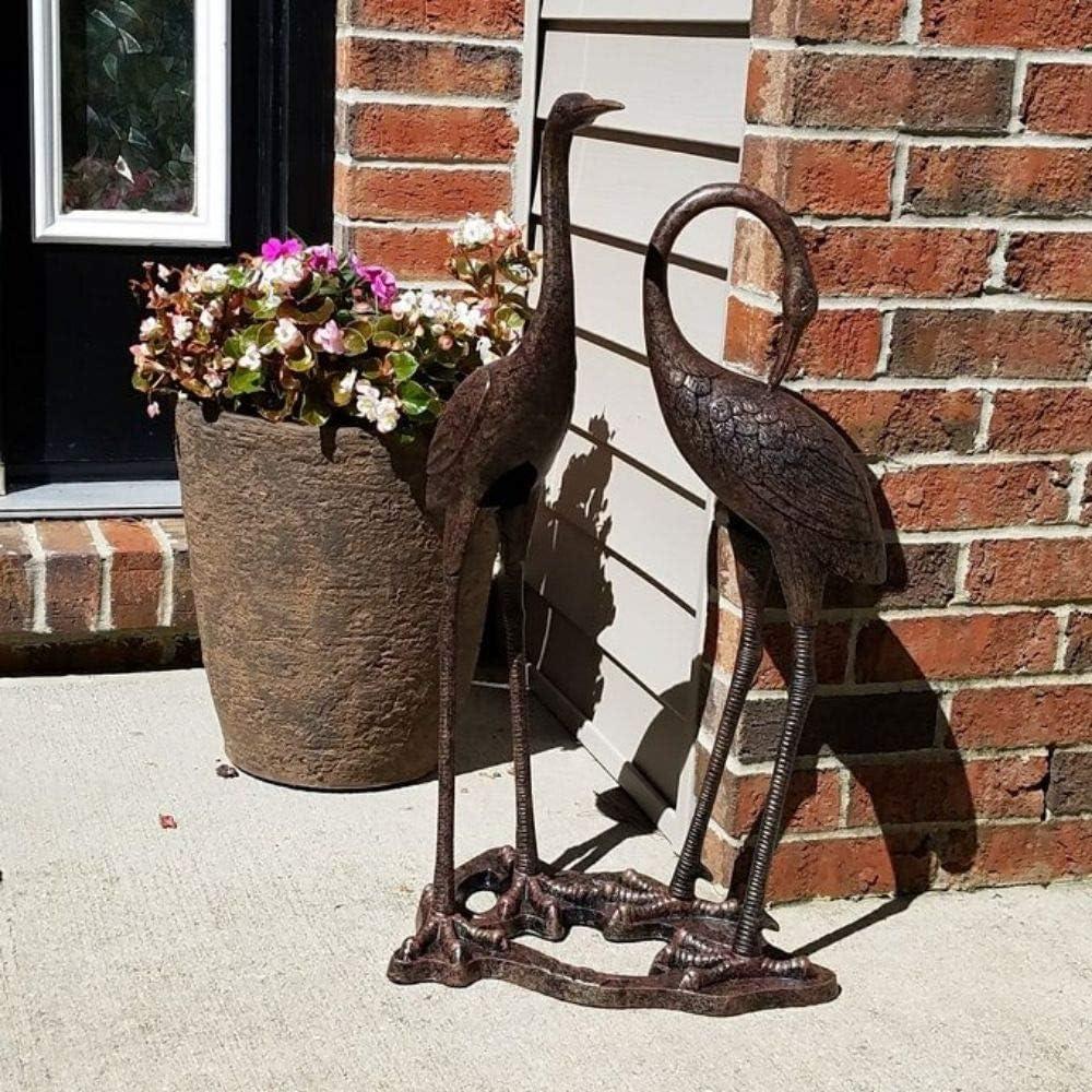 Pair Standing Metal Heron Crane Statue Vintage Sculpture Study Base Weather Resistant Outdoor Garden Bird Art Decor Home Modern Yard Patio Lawn