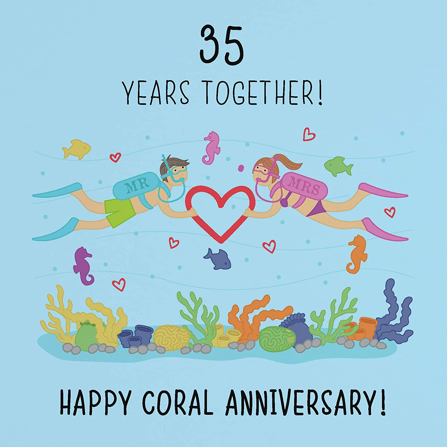 8th Wedding Anniversary Card - Coral Anniversary - Iconic Collection