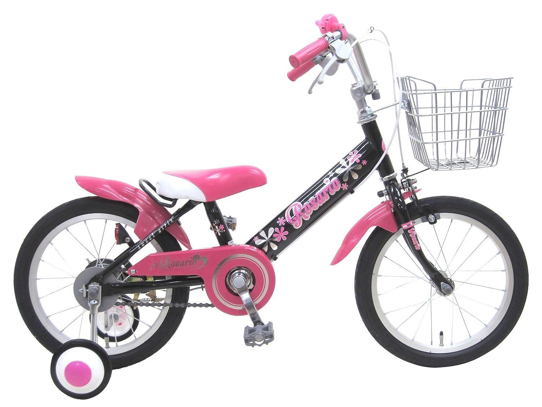 ロサリオ(ROSARIO) 補助輪付き 組み立て式 子供用自転車 幼児自転車 B01GDWMOIY 14インチ|ブラックピンク ブラックピンク 14インチ