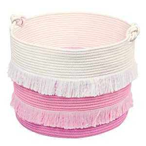 Large Rope Basket – 16''x13'' Pink Decorative Woven Basket for Toys, Blankets, or Laundry, Cute Tassel Decor for Baby & Girl - Home Storage Container