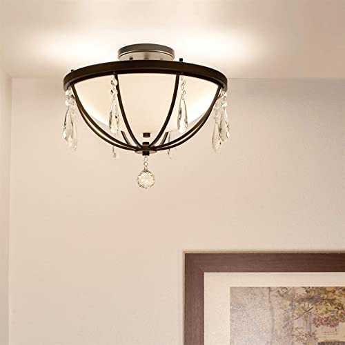 Kira Home Francesca 14.5 2-Light Modern Semi Flush Mount Chandelier Light Teardrop Crystals, Oil Rubbed Bronze Finish