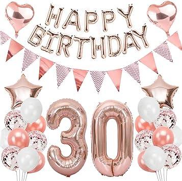 Ouceanwin 30 Geburtstag Dekoration Rosegold Geburtstag Party Deko Set Riesen Folienballons Zahl 30 Happy Birthday Girlande Ballons Wimpelkette Banner 30th Geburtstagsdeko Für Damen Frauen Spielzeug