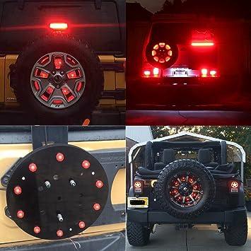 Rueda de repuesto LED Tercer freno Luz para Jeep Wrangler 2007 – 2017, 10 Rueda