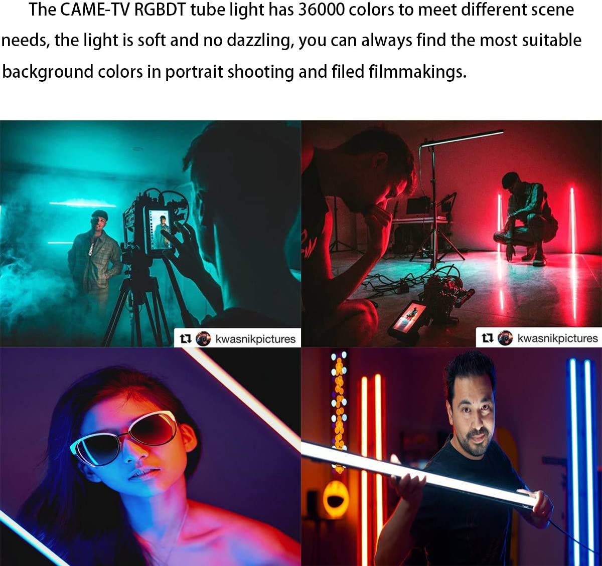 3FT RGBDT Light Came-TV Boltzen Andromeda RGBDT Slim LED Tube Lighting Studio Video Lights LED Photography Video Lighting 2000K-10000K for Interviews Video Studios YouTube Tube Light