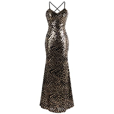 Angel-fashions Women's Spaghetti Strap Leopard Evening Dress at Women鈥檚 Clothing store