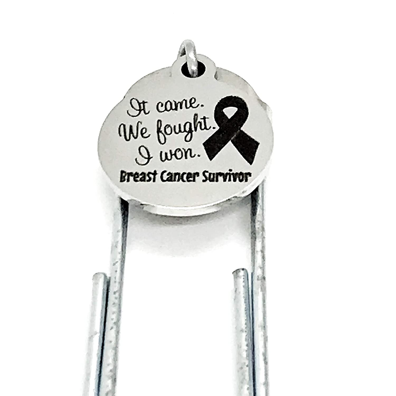 It Came Cancer Survivor Gift Cancer Remission Gift We Fought Breat Cancer Survivor I Won I Am a Survivor Paperclip Charm Bookmark