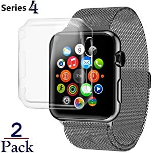 iWatch [40mm] Protective Snap-On Case with Built-in Screen Protector - Shockproof & Anti Scratch Shield [ PC Hard Clear ] HD Thin Cover Compatible with Apple Watch Series 5 & 4 [ 40mm - 2 Pack ]