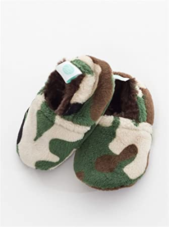 191e204b3ecfb Baby Laundry Plush and Soft Reversible Booties, Slippers/Shoes for Boys -  Camo (3-6 Months)