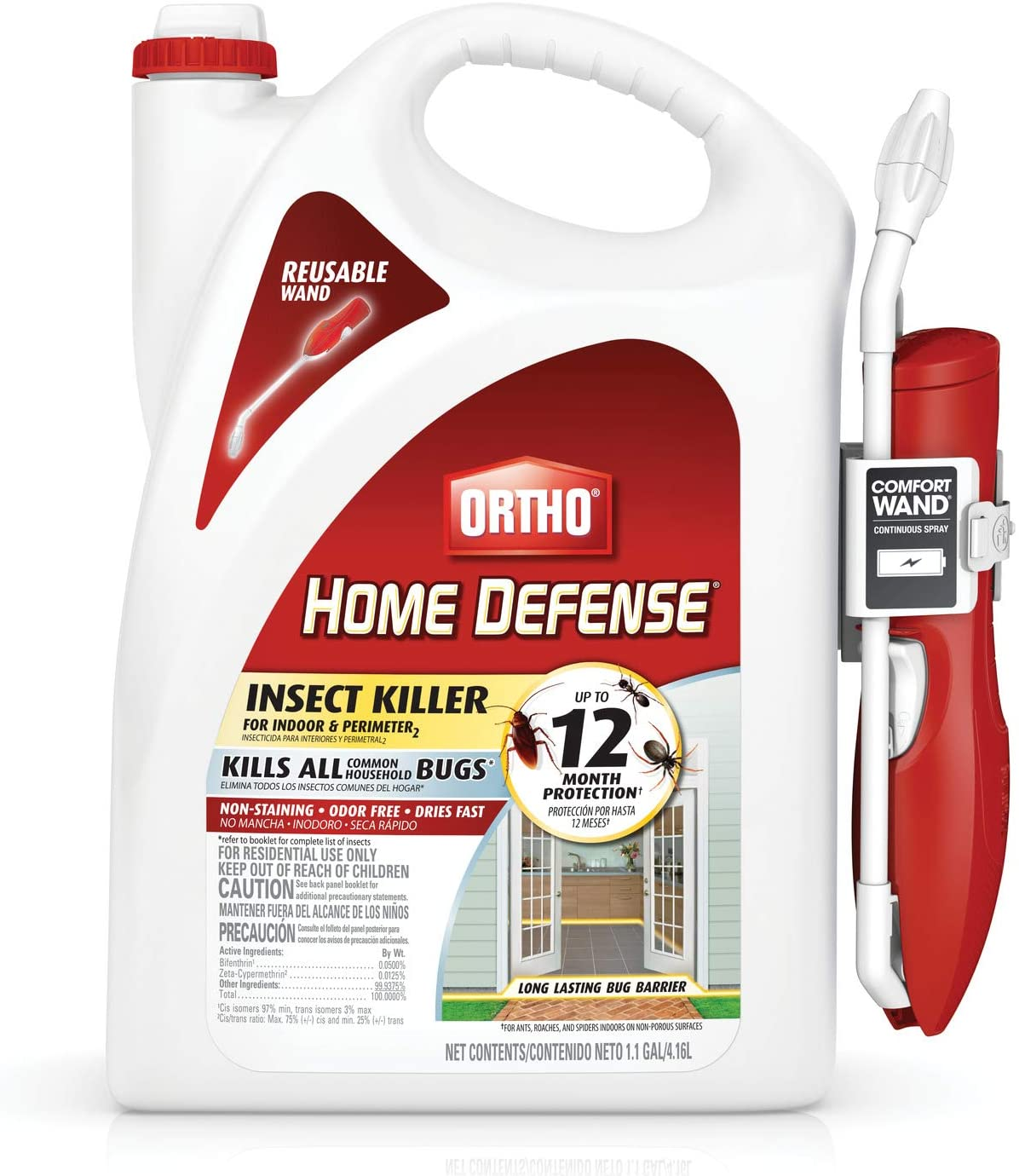 Ortho 0220910 Home Defense Insect Killer for Indoor & Perimeter2 with Comfort Wand Bonus Size, 1.1 GAL : Garden & Outdoor