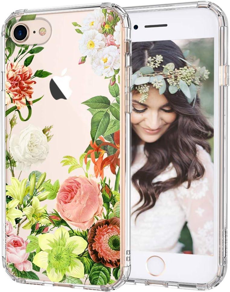 MOSNOVO Botany Floral Flower Pattern Designed for iPhone SE 2020 Case/Designed for iPhone 8 Case/Designed for iPhone 7 Case - Clear