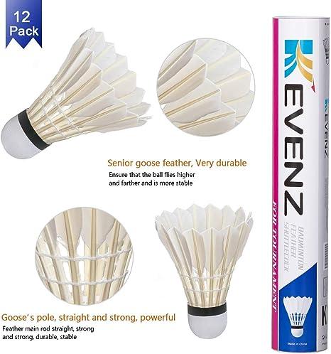 - White 77 FLY Badminton Club Medium Speed Tube of 12 Duck Feather Shuttlecocks