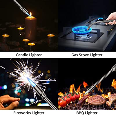 Megainvo Jet Lighter Candle Long Butane lighter 360 /°Flexible Stainless Steel Hose Refillable Gas lighter Windproof Outdoor Fire Lighter for Kitchen Barbecue Camping Fireplace No Gas Include